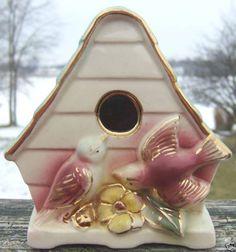 Vintage Birdhouse Wall Pocket Shafer 22K Gold Trim