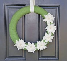 Handmade Christmas Wreath, Christmas Decor,Green Holiday Wreath with Poinsettias