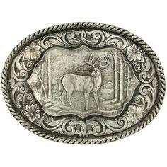 Montana Silversmiths Deer Antiqued Belt Buckle