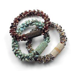 Kumihimo Bracelet with Long Magatamas, C-Lon Bead Cord & Peyote Stitch Beaded Clasp Sleeves