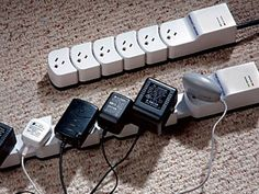 Socket Sense Expandable Surge Protector with 6-outlets. Expands from 13-Inch to 18-Inch which allows you to use all 6 outlets using adaptors and or regular plugs, guaranteed. GetdatGadget.com/socket-sense-expandable-surge-protector/