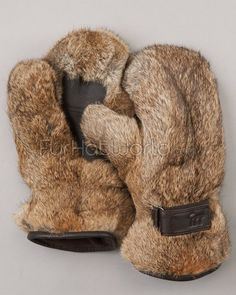Rabbit Fur Mittens - Brown