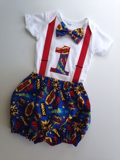 Super Hero First Birthday Onesie and Bloomers Boys by SweetTootsy, $50.00