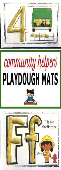 My kids love playdough time! Add these educational play doh mats to your sensory center during your community helpers unit! You students will enjoy working with letters, numbers, tens tables, shapes, scenes and creating faces for our community helpers. Community Helpers Activities, Community Helpers Kindergarten, School Community, Preschool Themes, Preschool Classroom, Classroom Ideas, Community Workers, Tot School, Play Doh