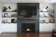Modern built-ins ~ new construction project — interiors by sarah langtry Built In Around Fireplace, Fireplace Built Ins, Home Fireplace, Fireplace Remodel, Living Room With Fireplace, Fireplace Design, Slate Fireplace, Shelves Around Fireplace, Basement Built Ins