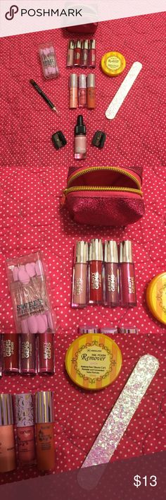 Makeup bundle 4 ulta beauty lip glosses, lemon nail polish remover pads, tarte lip gloss, tarte lip tint, lip liker pencil, pink Victoria Secret nail file, lush cosmetics charm lip color, 2 sharpeners all brand new items tarte Makeup Lipstick