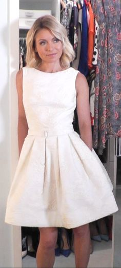 Kelly Ripa in a Dennis Basso for Kleinfeld Wedding Dress. Kelly's Fashion Finder. Wedding dress short white belt