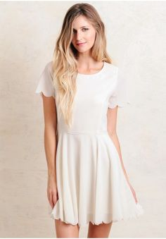 Within scalloped dress in cream modern vintage dresses modern