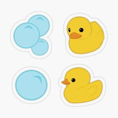 Kawaii yellow rubber duck pattern, with soap bubbles on a blue backround | shower bathroom duck sticker, stickers