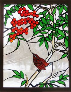 Vitral ventana arte naturaleza Panel fauna Wren y por GaleazGlass