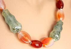 Long Red Agate and Prehnite Necklace 252 inches 64 cm by Fagiano, $65.00
