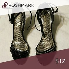 Delicious black patent strappy heels Super cute black strappy heels by Delicious. Approx. 4 inch heel. Some wear, but lots of love left in them!! Delicious Shoes Heels