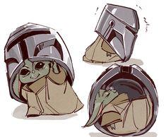 Baby Yoda having fun with Mando's helmet Theme Star Wars, Star Wars Baby, Star Wars Fan Art, Yoda Meme, Yoda Funny, Star Wars Meme, Star Wars Clone Wars, Star Trek, Reylo