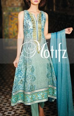 Buy Turquoise Digital Printed Lawn Anarkali Style Dress by Motifz Lawn Collection