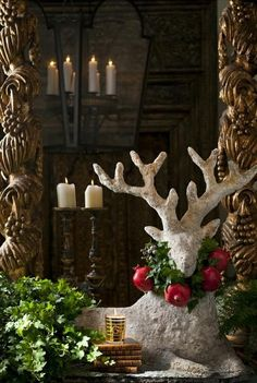 Christmas Decorating Ideas Christmas Decorating Ideas, love Raindeer, would have had a looser boxwood wreath on neck