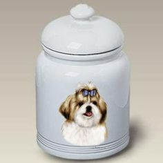 """Shih Tzu (Gold and White): Ceramic Treat Jar 10"""" High #34229. New 2013 Design! -- Do you want additional info? Click on the image. (This is an affiliate link and I receive a commission for the sales)"""