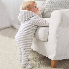 Buy Baby > Baby Sleepwear > Velour Wadded Romper from The White Company