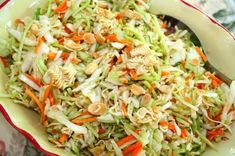 Oriental Salad without Ramen Noodles-  2 bags of broccoli slaw,  or 1 large head of napa cabbage, 1 small bag of slivered almonds        Dressing  1/2 cup olive oil  1/2 cup honey  1/4 cup apple cider vinegar   1/2 cup crasins, 1/2 cup of sliced green onions, sliced celery. Divine.