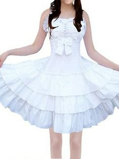 White Ruffle Gothic Lolita Dress With Bow