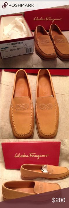 NIB Vintage Ferragamo Loafers New In Box Vintage 90s camel colored, buttery soft leather loafers.  Bought at the original Neiman Marcus in Dallas, Tx.     New to Posh.  Listing a few items with pleads to edit price.  Please feel free to make and offer.   8 pairs of vintage 90s Ferragamo's to list in new/excellent used condition. Salvatore Ferragamo Shoes Flats & Loafers