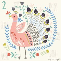 A self-initiated Christmas countdown project inspired by Kantha embroidery and folk art. Art And Illustration, Christmas Illustration, Folk Art Flowers, Flower Art, Grand Art, Rooster Art, Scandinavian Folk Art, Arte Popular, Bird Art