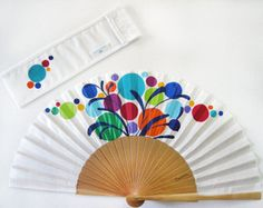 """Items similar to Spanish hand fan painted with matching sheath """"Party"""" on Etsy Painted Fan, Hand Painted, Hand Held Fan, Hand Fans, Fabric Dolls, Etsy, Art Projects, Just For You, Free"""