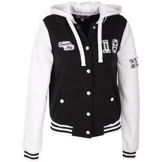 Dream Big Varsity Jacket ($20) ❤ liked on Polyvore featuring outerwear, jackets, tops, shirts, sweaters, coats & jackets, striped jacket, teddy jacket, varsity bomber jacket and college jacket