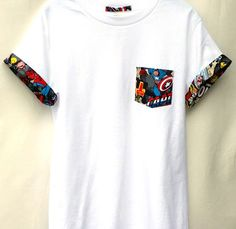 "Captain America Pocket Roll-up T-Shirt, Avengers T-shirt, Super Hero Pocket and Roll-up Sleeves T-shirt, Captain America Tee Custom Handmade Marvel Comic Patched Pocket Roll-up T-shirt Made with premium Cotton Heritage T-shirt. We have Children and Youth T-shirts as well. Please send us a message! Sizes Measurements: Standard Adult Sizes S - Width: 18"" / Length: 28"" M - Width: 20"" / Length: 29"" L – Width: 22"" / Length: 30"" XL – Width: 24"" / Length: 31"" 2XL – Width: 26""..."