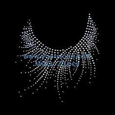 "#2011 SMALL Silver RHINESTONE 8.5/"" x 6/"" iron on Neckline Shirt Transfer"