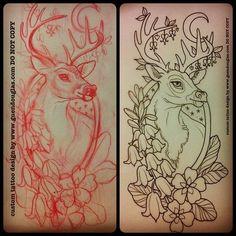 Deer tattoo idea #tattoos #deer #art #flowers