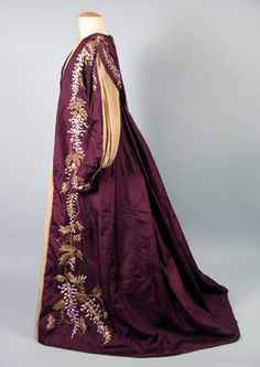 Aesthetic Dresses: puffed sleeves, leg of mutton style; liberty prints and oriental silks worn by one of drooping appearance contrasting with the stiffly constructed lines of bustle supported dresses
