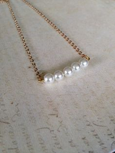 Minimalist pearl Bar Necklace/Simple/Dainty Jewelry/Petite/5 Pearls/Gold plated chain/stocking stuffer/Gifts under 15
