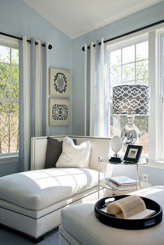 Nice colour palette, master bedroom. With charcoal furniture. Reading area