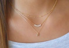 Triple Necklace Set; Personalized Gold Necklace Set; Initial Necklace; Satellite Necklace; Silver Beads Necklace; Delicate Necklace Set;