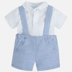 Mayoral Blue Baby boy set with suspenders Kids Outfits Girls, Baby Boy Outfits, Toddler Fashion, Kids Fashion, Boys Suits, Baby Dress, Clothes, Pocket Detail, Live