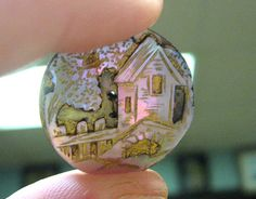 ButtonArtMuseum.com - Old Antique Carved Abalone Mother Of Pearl Button