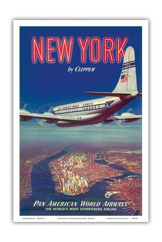 Amazon.com: New York USA by Clipper - Boeing 377 over Manhattan Island - Pan American World Airways - Vintage Airline Travel Poster #affiliate c.1950 - Master Art Print - 12in x 18in: Posters & Prints