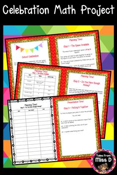 This Math Project Design Task requires students to work in groups to plan a school celebration. Students must work within a budget while considering; The number of food stalls and the cost, number of rides/activities and the cost and the layout of the event. Included; student instructions, planning table and presentation table. © Tales From Miss D