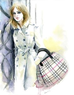 Watercolor Fashion Illustration -  Emma Watson wearing Burberry