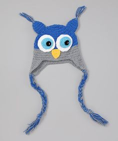 Blue & Gray Owl Earflap Beanie by Bubbly Bows #zulily #zulilyfinds