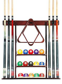 Cue Rack Only 6 Pool Billiard Stick Ball Set Wall Holder Mahogany Finish
