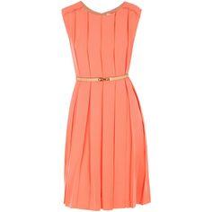 Chloe dresses CORAL (117.190 RUB) ❤ liked on Polyvore featuring dresses, vestidos, платья, vestiti, chloe, coral, sleeveless dress, coral dress, red dress and red sleeveless dress