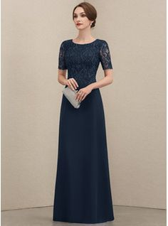 A-Line Scoop Neck Floor-Length Chiffon Lace Mother of the Bride Dress With Ruffle Beading Sequins - JJ's House Mother Of The Bride Dresses Long, Mother Of Bride Outfits, Mothers Dresses, Bride Groom Dress, Bride Gowns, Lace Bride, Mob Dresses, Fashion Dresses, Lace Evening Dresses