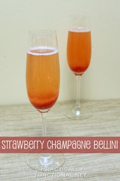 Strawberry Bellini - I'm going to try this with Pink Moscato Barefoot Champagne!
