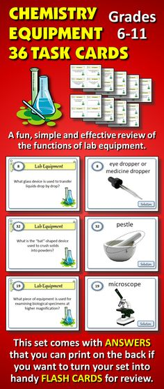 These 36 task cards (with Editable Electronic Template) cover the functions and use of various pieces of common lab equipment. Turn what can be a dry topic into something student centered and fun with these task cards. Chemistry Classroom, Teaching Chemistry, Chemistry Labs, Science Chemistry, Physical Science, Science Tools, Science Resources, Science Lessons, Science Education