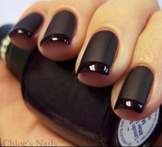 French Manicure Nail Designs: Beyond Boring White Tips The shine on the flat is neat! You can do this at home by putting some cornstarch in the nail polish. It will spread on clumpy, but dry smooth. The tips are just regular polish! French Manicure Nail Designs, Black French Manicure, Nail Art Designs, Nail Black, Nails Design, French Pedicure, Mat Black Nails, Black Nail Tips, White Manicure