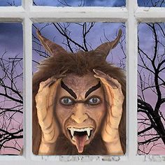 Scary Peeper Krampus Halloween Prop with Animated Eyes Spooky Holiday Decoration Motion Activated Demon that Peers in Your Window with Glowing Red LED Eyes ** Click image for more details. (This is an affiliate link) Halloween Prop, Halloween Decorations, Scary Pranks, Creepy Faces, Baby Playroom, Vampires And Werewolves, Indoor String Lights, Red Led, Werewolf