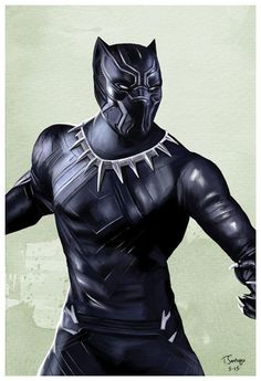 black panther marvel civil war fan art by artist tony santiago