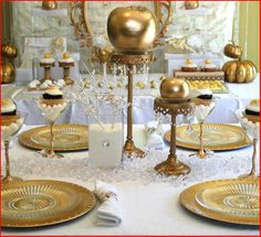 Gold candlestick with gold fruit