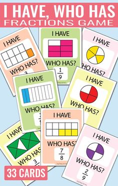 I Have, Who Has Fractions Game - Perfect game for learning fractions Mehr zur Mathematik und Lernen allgemein unter zentral-lernen. 4th Grade Fractions, Learning Fractions, Fourth Grade Math, Teaching Math, Equivalent Fractions, 4th Grade Math Games, Math Math, Dividing Fractions, Multiplying Fractions